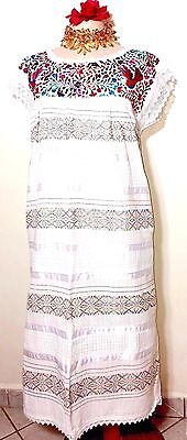 Hand loomed & Embroidered 100% Cotton Wedding Dress Size L to XL Frida 5 DE MAYO