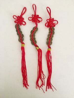 5 Coin Chinese Lucky Feng Shui Red Tassel 3 Pack Success Wealth 5 Elements