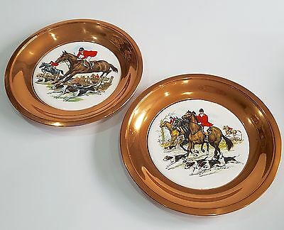 Vintage Copper Ceramic Wall Plaques Plates Fox Hunting Scenes Horses Hounds-Pair