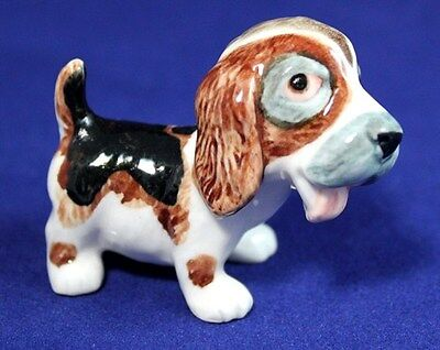 Beagle Cute Dog Handcraft  Animal Figurine Ceramic Handmade Brown Collectible
