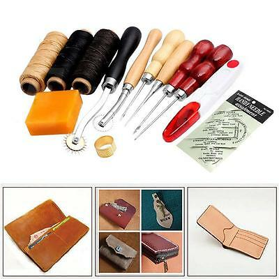 13Pcs Leather Craft Hand Stitching Sewing Tool Thread Awl Waxed Thimble Kit TS