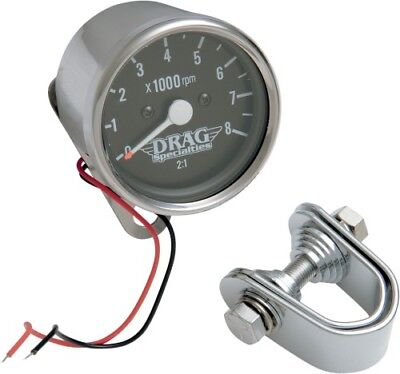 Drag Specialties Mechanical 8000 RPM Tachometer 2.4in. Black 21-6903DS1-BX16