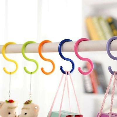 6pcs Plastic S Hooks Hanging Rail Hanger Utensil Garage Garden Clothes NEW -S