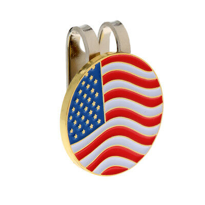 Portable Metal USA Flag Golf Ball Marker Magnetic with Hat Clip Golfer Gift