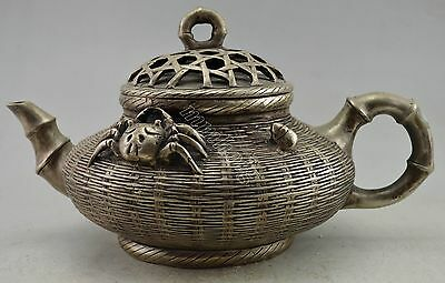 Collectible China Silver Plate Copper Carved Bamboo Basket Crab Used Big Tea Pot
