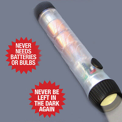 NEW Forever Light Led Torch No Batteries Shaking Energy Rechargeable Home Lamp