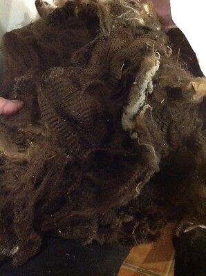 450gr Raw Wool, Unwashed Fleece, Felting And Spinning Beautiful Dark Brown