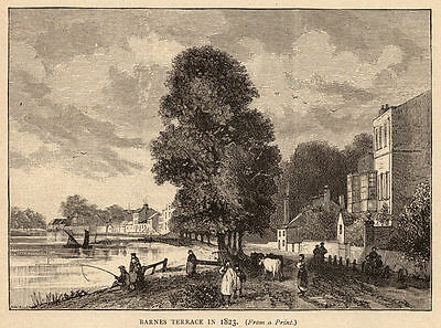 Greater London, Barnes Terrace, 1890s antique engraving ready mounted SUPERB