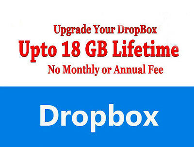 Dropbox account with 18 GB Lifetime Space