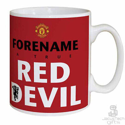 PERSONALISED Man Utd Mug. Red Devil. Birthday Gift MANCHESTER UNITED Merchandise