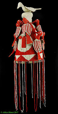 Yoruba Beaded Crown Adenla Nigeria White Red African Art