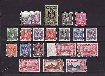 ST LUCIA 1938 KGVI COMPLETE DEFINITIVE 17 STAMPS SET to £1 - MINT LH/ UNHINGED