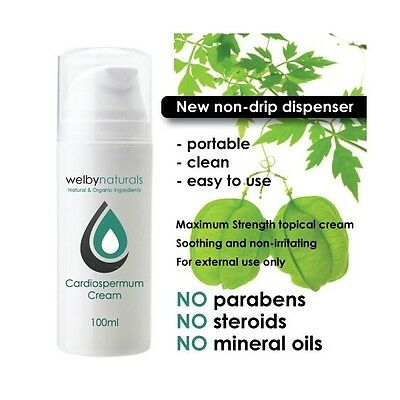 Cardiospermum Cream for Dry Itchy Skin Conditions 100ml Eczema Psoriasis Itching