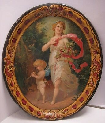"Spectacular 17"" Victorian Antique Tin Litho Tray w Cupid & Pretty Goddess 1890s"