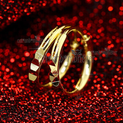 9K Gold Gf Diamond Cut Solid 20Mm Round Mens Womens Hoop Huggie Earrings Sleeper