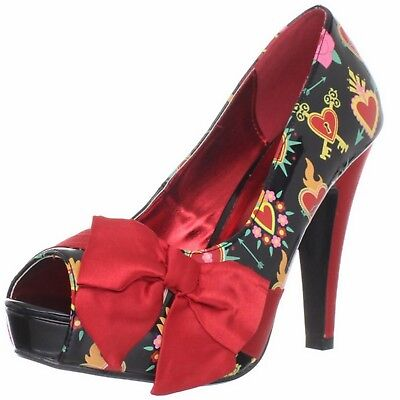 PINUP COUTURE Womens Shoes Open Toe Pump Hearts Satin Bow Platform BETTIE-13 Red
