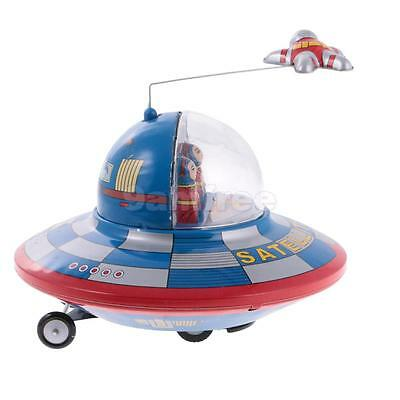 Vintage Retro Wind Up Tinplate Space Ship Clockwork Collectable Tin Toys