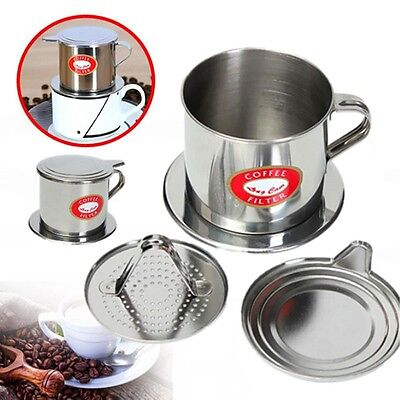 Stainless Steel Home Made Vietnamese Coffee Drip Filter Maker Infuser Set Silver