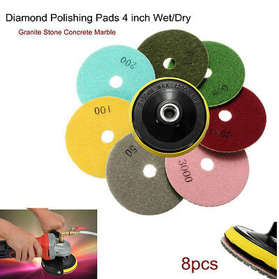 8Pcs Diamond Polishing Pads 4 inch Wet/Dry Set For Granite Stone Concrete Marble