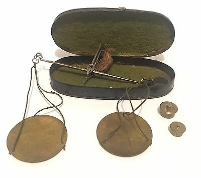 Antique Pocket Coin Sovereign Guinea Balance Scales in Tin with Weights
