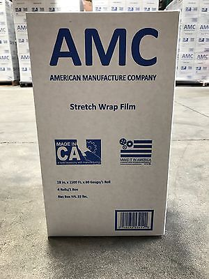 "Made in USA 18""x1500' 80 gauge cast hand pallet stretch shrink wrap film 4 rolls"
