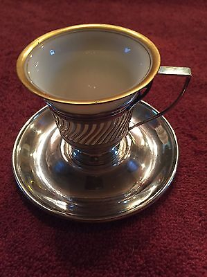 4 Vintage Lenox Demitasse Cups with Gorham Sterling Silver Holders & Saucers