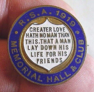 1919 RSA Returned Soldiers Association Memorial Hall & Club Appeal Badge Pin
