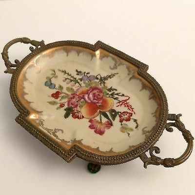 Hand-Painted Fruit Floral Oval Porcelain Tray_Ornate Brass Footed Stand