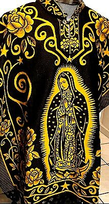 VIRGEN GUADALUPE Mexican Handmade  women chal Jorongo Poncho REVERSIBLE Black &