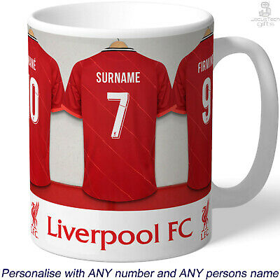 PERSONALISED Liverpool Mug. Shirt Name. Gift Idea For LIVERPOOL FC Fan Supporter