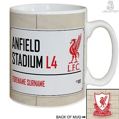 PERSONALISED Liverpool Mug. Anfield Stadium Sign. Gift Idea For LIVERPOOL FC Fan
