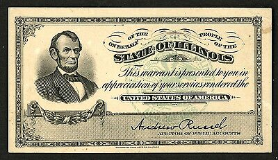 1910 circa Abraham Lincoln State of Illinois Warrant ~  Columbian Bank Note Co