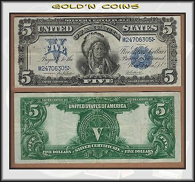 Series 1899 United States $5 Silver Certificate Chief - Nice VF+ Pretty - BINo