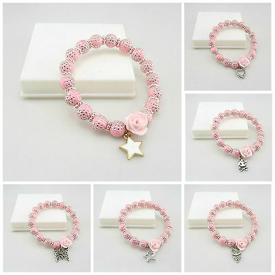 New Kids 8Mm Pink Silver Dot Acrylic Beads Stretch Bracelet With Flower Charms