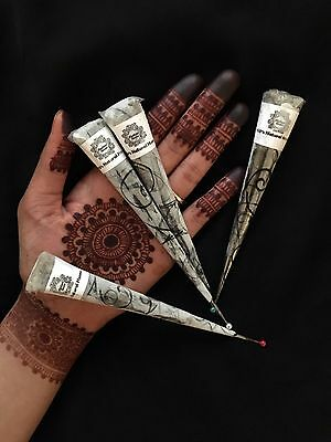 4 ORGANIC HENNA CONES-Freshly made-Natural ingredients- guaranteed DARK STAIN!