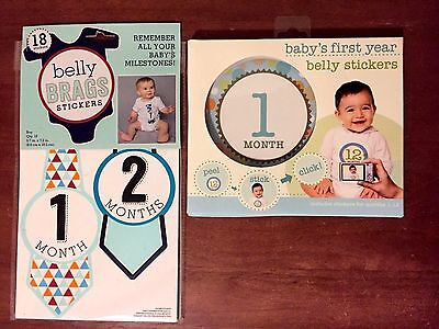 NEW Baby's First Year Belly Stickers Blue Boy + Belly Brags Stickers 18 mos new