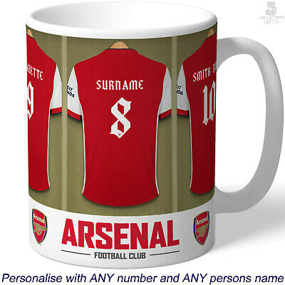 PERSONALISED Arsenal Mug. Shirt Name Gift Idea For ARSENAL Gunners Fan Supporter