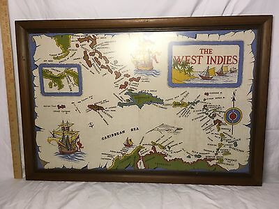 Vintage woven cloth Map of West Indies framed