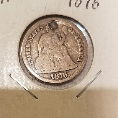 1876 Seated Liberty Dime, U.S. Silver 10 Cent Coin