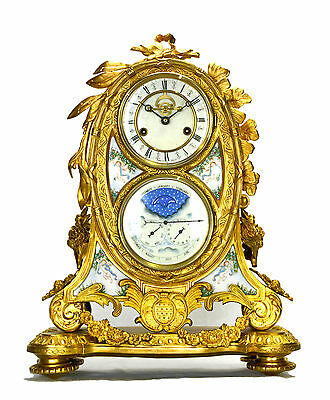 French Style 8 Day Visible Escapement Gilt Bronze Enamel Calendar Mantle Clock