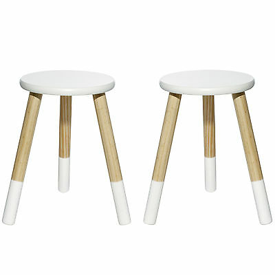 2 x White Wooden Stools Kids Seat Solid Timber Indoor Children Furniture Chair
