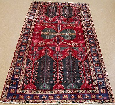 5 x 9 PERSIAN KURDISH KOLIAI Tribal Hand Knotted Wool RED BLUE PINK Oriental Rug