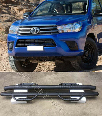 (#802) Toyota Hilux 2015 to 2017 Matt Black Steel Side Step Running Boards
