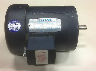 Leeson Electric Motor 1/3 HP 1140 RPM Frame C56C 208,230,460 volts 3 Phase