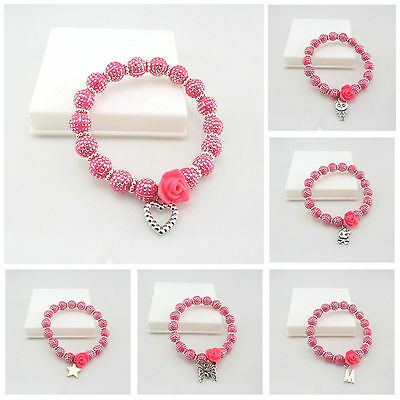 Kids 8Mm Hot Pink Silver Dot Acrylic Beads Stretch Bracelet With Flower Charms