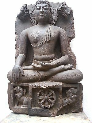 Antique Stone Statue Of Buddha In Enlightenment Stage 10th Century Old Rare Art