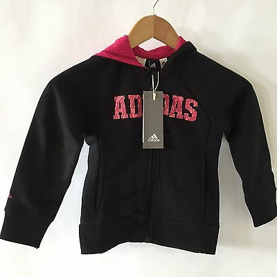 Adidas Hoody Sweatshirt Zip Up Black Pink Age 5 100%  New £13.99