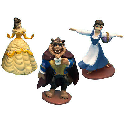 3x Beauty And The Beast Action Figures Cake Topper Topper Princess Belle Kid Toy