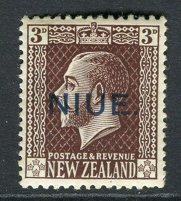 NIUE;  1918 early NZ GV surcharged issue Mint hinged 3d. value