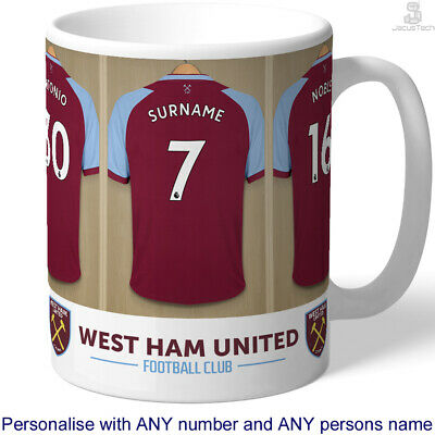 PERSONALISED West Ham Mug. Shirt Name. Gift For WEST HAM Fan, Hammers Supporter